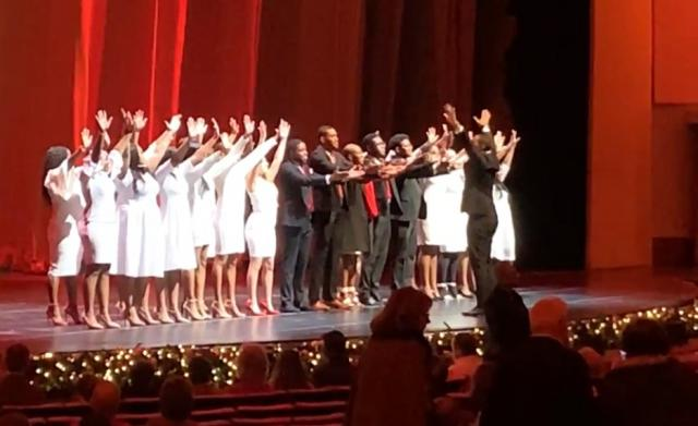 The Kean Gospel Choir performs at Radio City Music Hall.