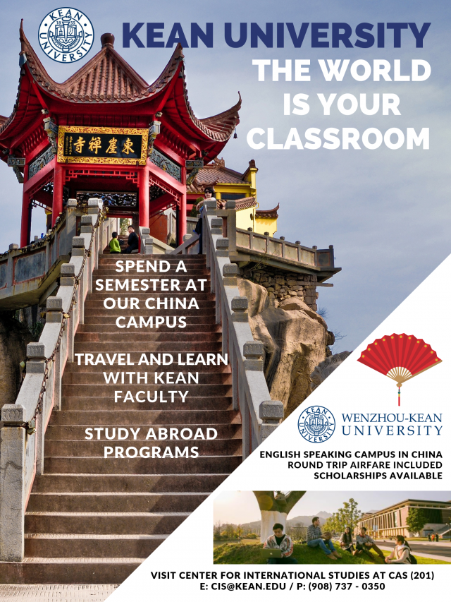 A flyer that showcases various study abroad experiences available to Kean University students including information about our WKU campus