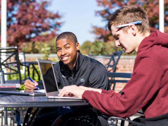 Kean students Fall patio photo
