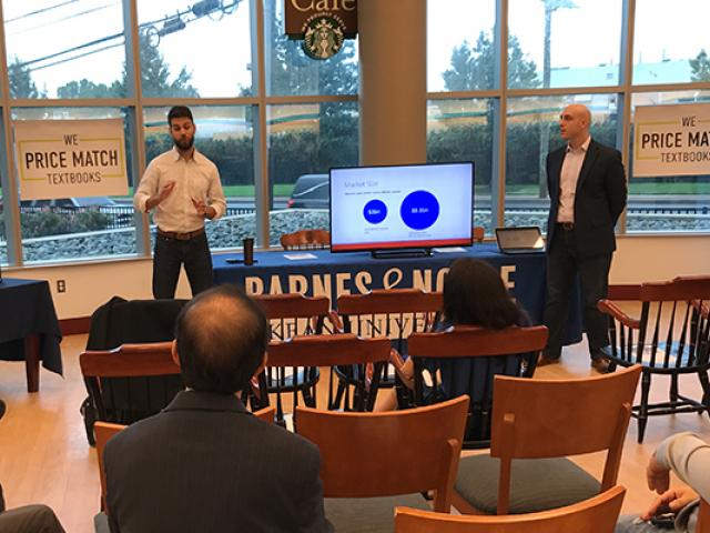Entrepreneurs pitch their business ideas at Kean University's One Million Cups event.