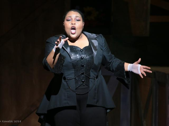 Kean alumna Brianna Jarvis performs in Pippin