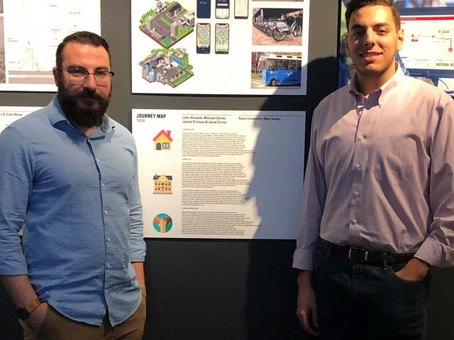 Industrial design project exhibited at Cooper Hewitt Museum. Efecem Ketuk, program coordinator, is on the left; student James D'Orazio on the right.