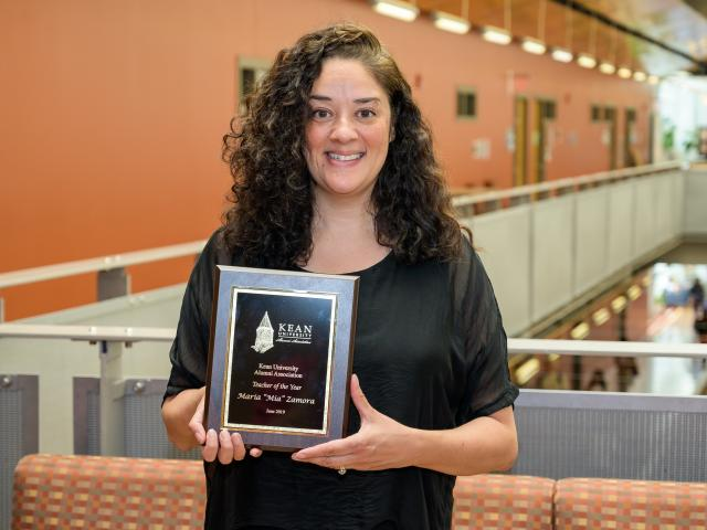 Mia Zamora was named Teacher of the Year at Kean 2019