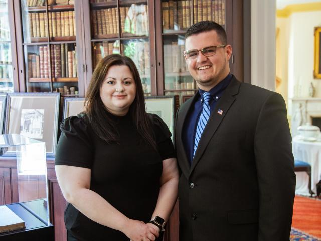 Kean University students Nicole Skalenko and Victor Bretones pose at Liberty Hall Museum
