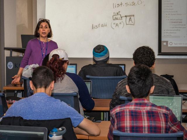 Kean University researcher Mayra Bachrach teaches a computer science class.