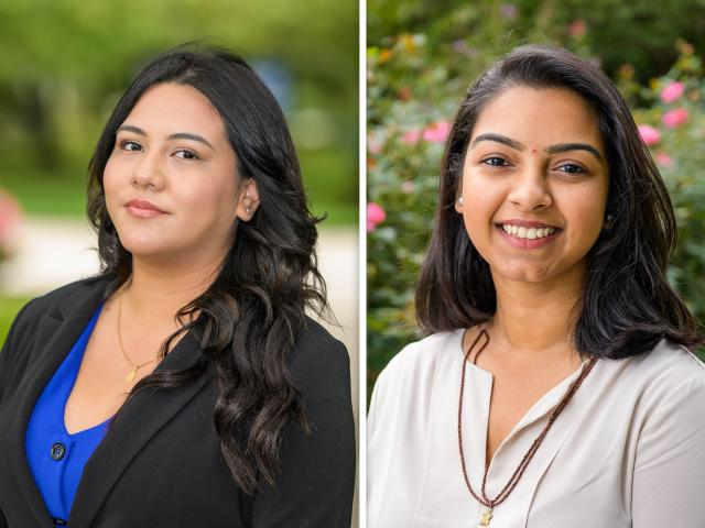 Jessie Coronel, left, and Dhruva Patel, right, KEAN marketing students who won national recognition
