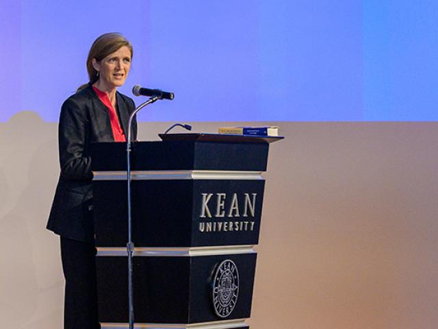 Former U.N. Ambassador Samantha Power speaks at a Kean podium