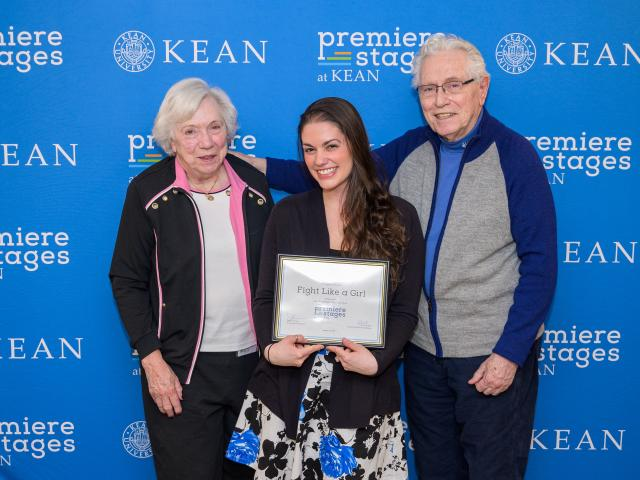 Kean alumna Emily Conklin received the Bauer Boucher Award. She is pictured with Nancy Boucher and W. John Bauer.