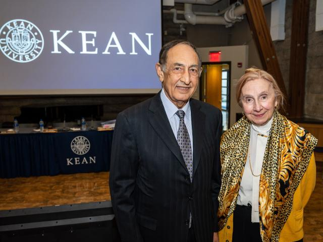 Kean President Dawood Farahi, Ph.D., and Dorothy Henning, Ed.D. pose at the March 2020 Kean Board of Trustees meeting.