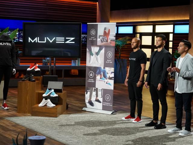 L-r, Ryan Cruz, Kean graduate Eric Cruz, and Kevin Zamora on Shark Tank.