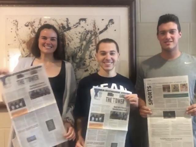 Award-winning Tower staff (left to right), News Editor Erin McGuinness, Editor-in-Chief Craig Epstein, and Sports Editor Steven Merrill.