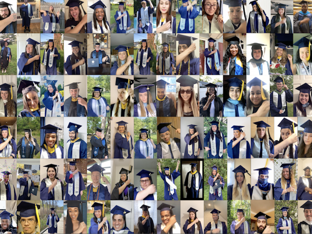 A composite photo of Kean's Class of 2020 during the traditional tassel turn.
