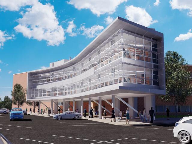 A rendering of the Hennings Research addition to Kean University's science building