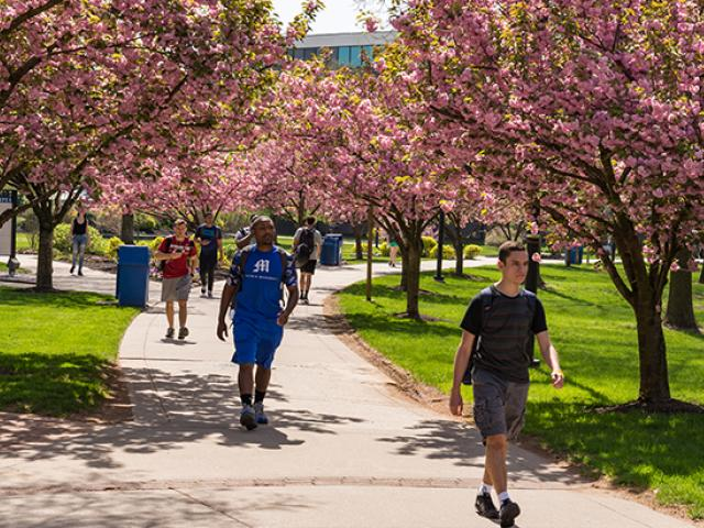 Students walk on Kean University's Cougar Walk.