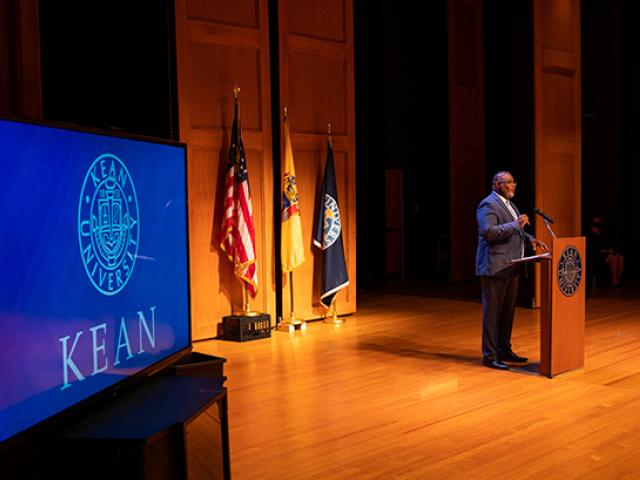 Kean President Lamont O. Repollet, Ed.D., delivers his Opening Day Address.