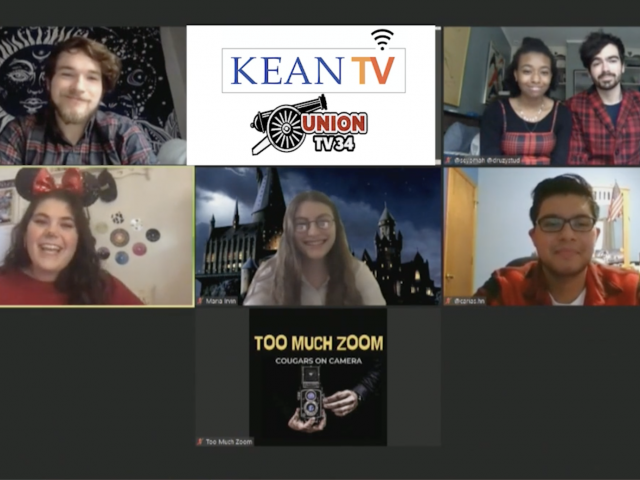 Six Kean students are shown on a Zoom call and are discussing their experiences during the COVID pandemic.
