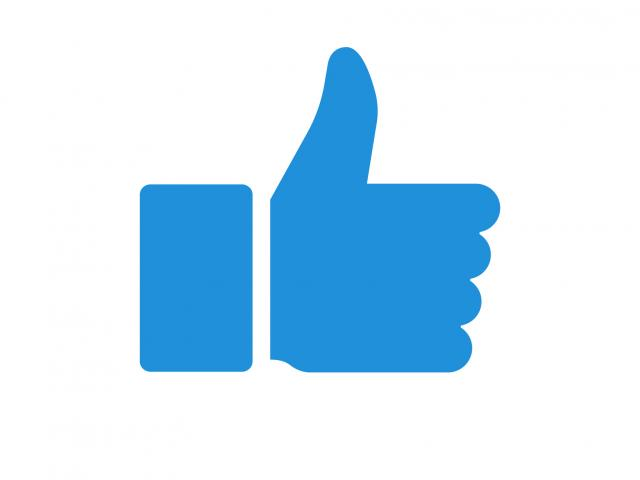 A blue thumbs up