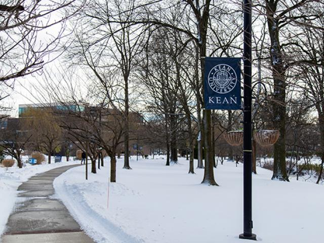 A path though Kean's snow-covered Union campus