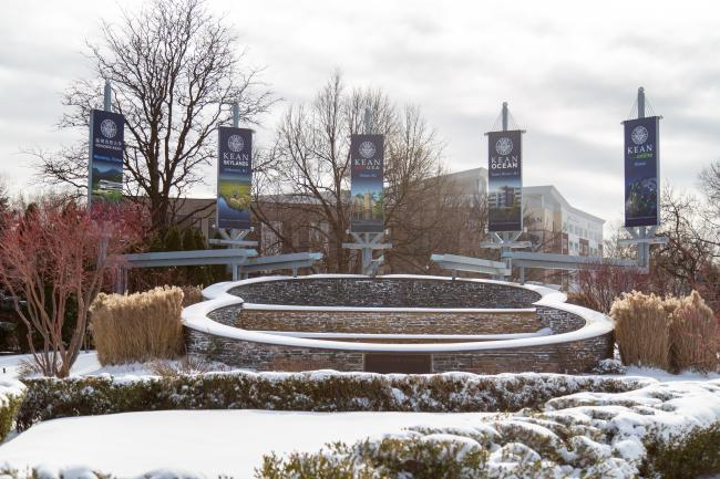 Kean's fountain covered in snow