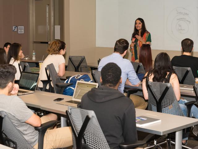 Kean management students study in a classroom.
