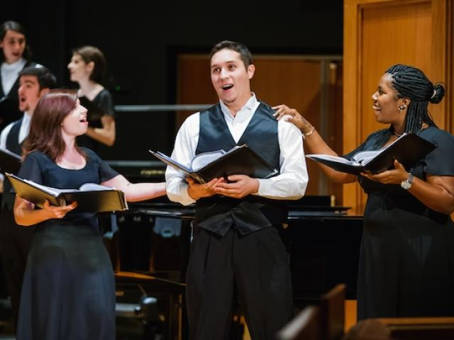 The Kean University choir's spring concert, Songs of Love and Arte, toured throughout New Jersey and Virginia. Kean's music degree provides a solid foundation in music theory and performance.
