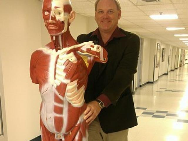 Dr. Field with life size model