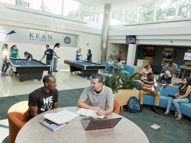Students in Kean University game room