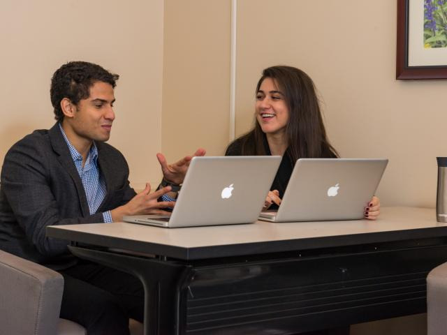 Two University students on computer