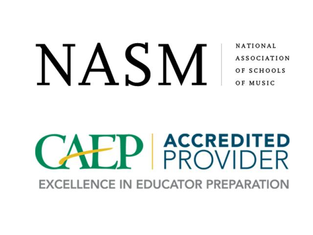 National Association of Schools of Music NASM and Council for the Accreditation of Educator Preparation CAEP logos stacked
