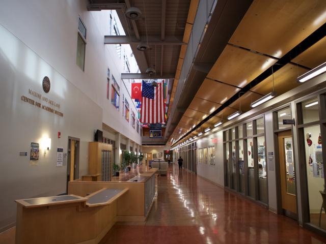 A hallway in the Center for Academic Success at Kean University