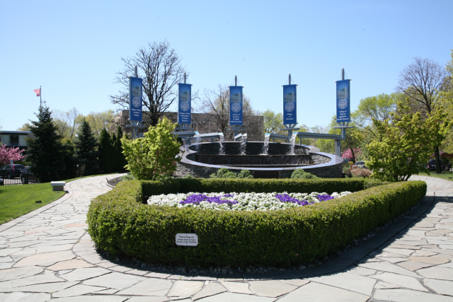Image of campus flags on Kean University campus