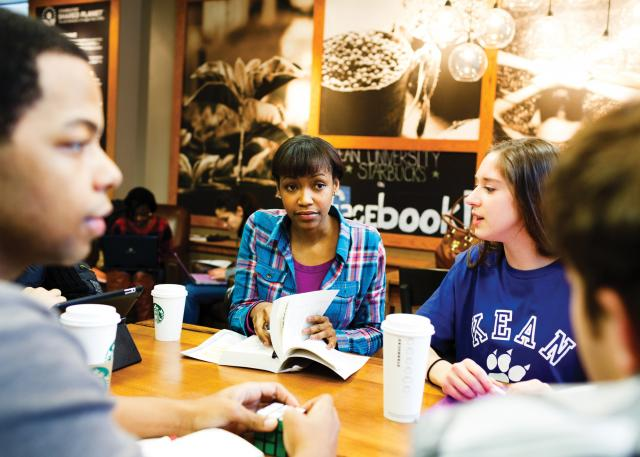 Students talk at Kean's Starbucks