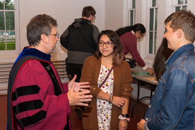 Students met informally with faculty after the Convocation.