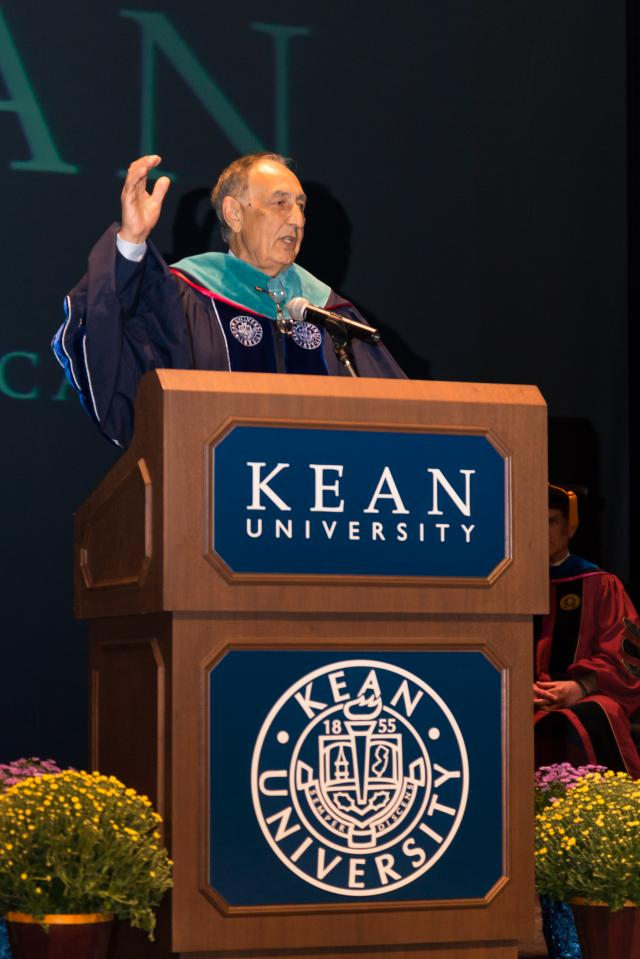 Kean President Dawood Farahi speaks at the College of Liberal Arts Convocation.