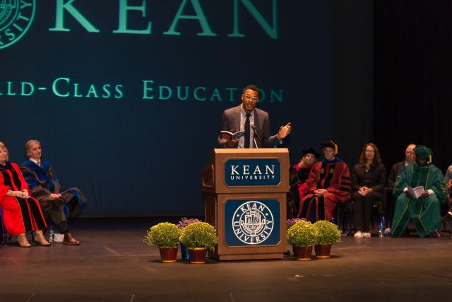 Poet Terrance Hayes speaks at Kean University's College of Liberal Arts Convocation.
