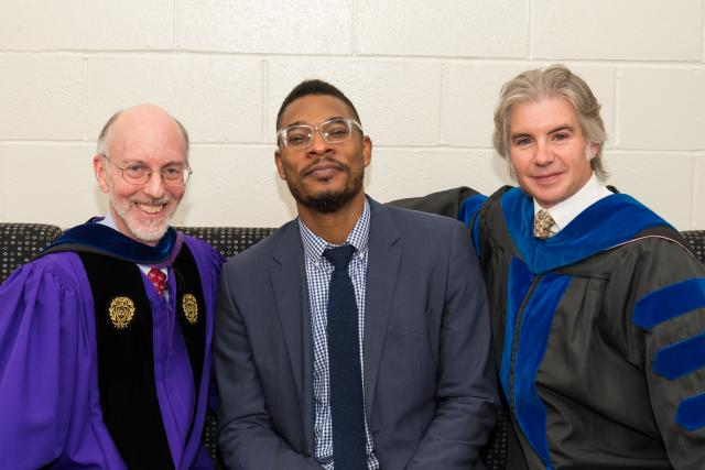 Provost Jeffrey Toney, Terrance Hayes, and Acting Dean Jonathan Mercantini.