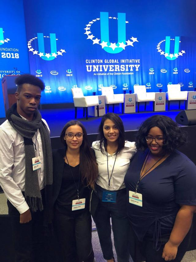 Members of Be the Change N.J. at Clinton Global Institute - University. L-R are Darnell Felder, Fernanda Moura, Gabriela Hurtado and Khamayah McClain.