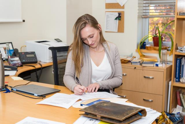 Kean student Catherine Lenahan prepares to serve as Dean for a Day.