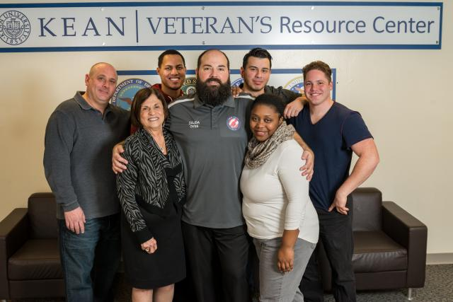 Kean director of Veteran Student Services poses in the Veterans Resource Center