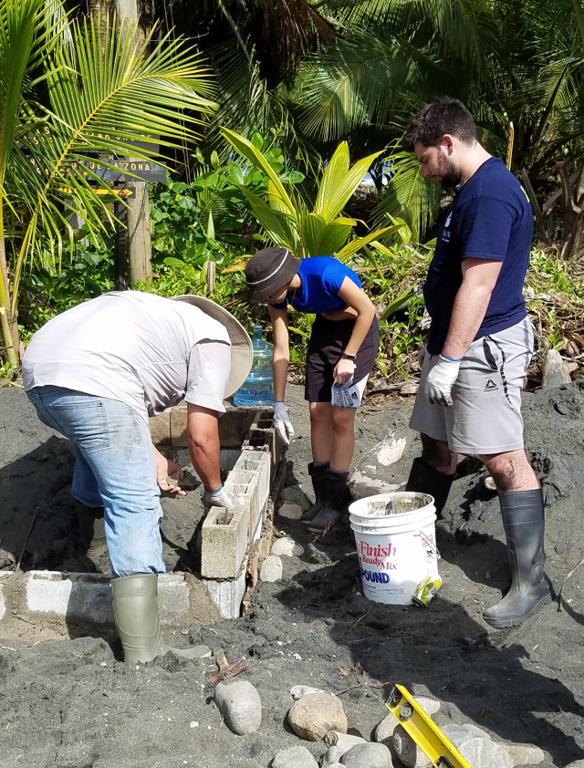 Kean students work at a turtle nesting spot in Costa Rica.