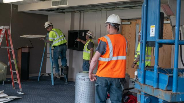 Workers are beginning renovations at Miron Student Center
