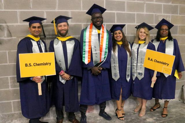 Photo of B.A. and B.S. in Chemistry students about to graduate