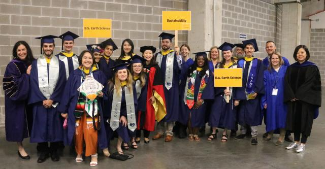 Photo of School of Environmental and Sustainability Science students about to graduate