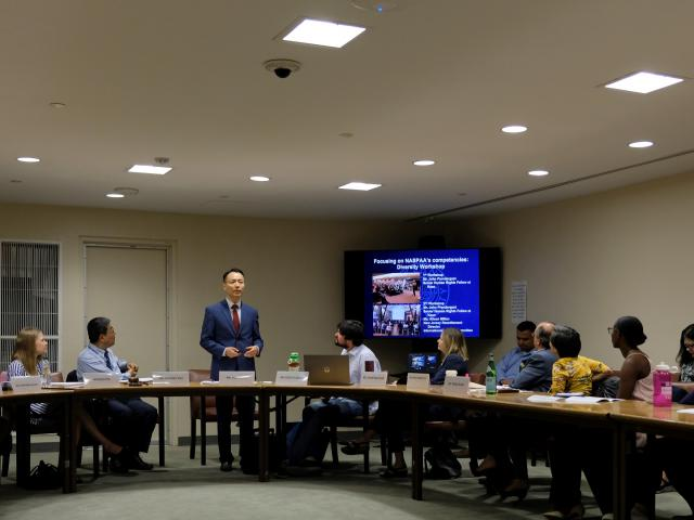 Kean assistant professor Bok Jeong,Ph.D., addresses a meeting of students and UN Staff at the UN