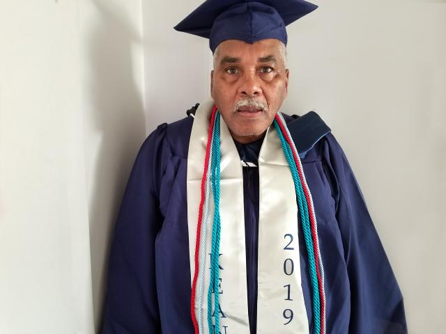 Kean University's oldest graduate in the Class of 2019, Michael Bradic