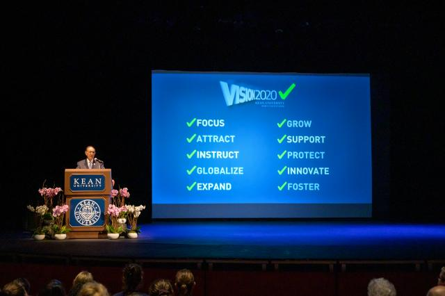 Kean University President Dawood Farahi, Ph.D., spoke about the Vision 2020 accomplishments in his Opening Day Address.
