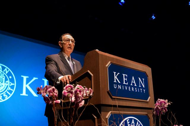 Kean University President Dawood Farahi, Ph.D. speaks at the 2019 Opening Day Address.