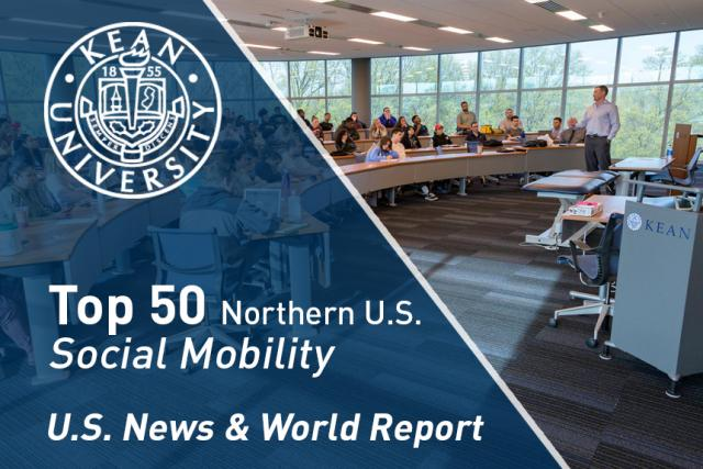 "A classroom at Kean University, with ""Top 50 Northern U.S. Social Mobility"""