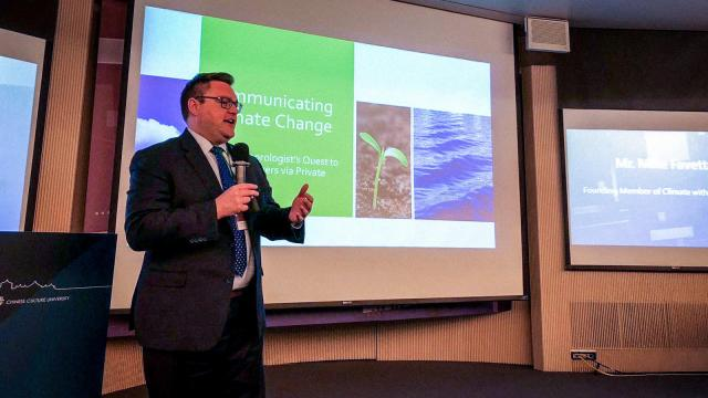 Kean grad Michael Favetta presented at a UN forum on climate change in Taiwan