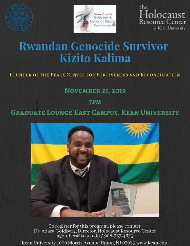 Rwandan Genocide Survivor Kizito Kalima will speak about his experience on November 21st at 7pm.
